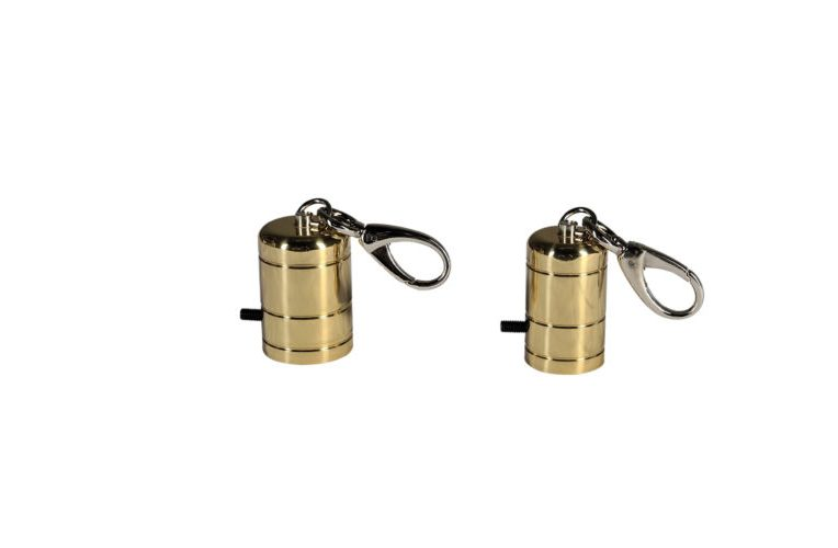 Golden brass rope terminal with snap hook
